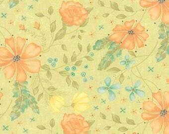 20 % off thru 7/4 REFRESH  orange aqua flowers on grass green cotton print by the 1/2 yard Moda fabric Summer 17860-13 Sandy Gervais
