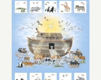 12% off thru July NOAH'S ARK Northcott digitally printed panel cotton quilt fabric 36 by 42 in Dp21499-42- Animals birds