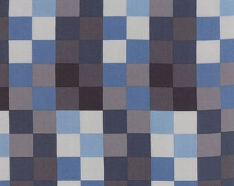 12% off thru July SERENITY- Moda fabric  by the half yard - AMY ELLIS-stone gray indigo blue squares checks  100 Percent quilt weight cotton