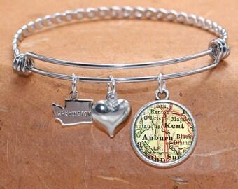 Auburn Kent WA Map Charm Bracelet State of Washington Bangle Cuff Bracelet Vintage Map Jewelry Stainless Steel Bracelet