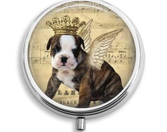 Pill Box Pill Case When Dogs Fly With Crown and Wings Pill Holder Pill Container Trinket Box Vitamin Holder Medicine Box