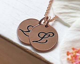 Rose Gold or Gold Initial Necklace | Liz Lemon Necklace | LL Necklace | Gold Letter Necklace | Initial Necklace | Coin Disc Necklace