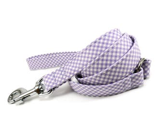 Lilac Gingham Dog Leash