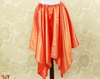 "Steampunk Fairy Fire Orange Taffeta Pointed Petal Skirt -- 4 Points, 35"" Point Length -- Fits up to 38"" Waist, Ready to Ship!"