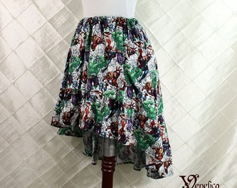 """HALF OFF Avengers Cotton Print -- High Low Mini Cecilia Skirt -- Ready to Ship -- Fits Up To 38"""" Waist"""