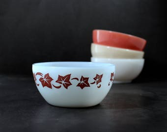 Azurite with Red Ivy FireKing Bowl 16 oz bowl