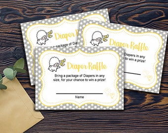 Little Lame Baby Diaper Raffle Cards Printable - INSTANT DOWNLOAD - Baby Shower Decor - Grey White Yellow - Gender Neutral - Raffle Cards