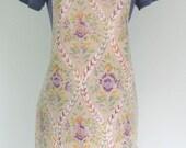 Mauve and Green Floral Print Adult Matt PVC Apron, Oilcloth Apron, Waterproof Apron