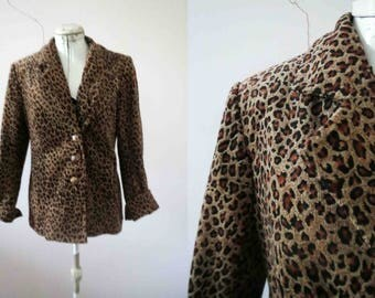 80s Animal Print Corduroy Jacket Blazer Small