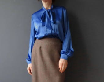 80s Aywon  Cobalt Blue Pussy Bow Office Blouse Medium