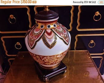 ON SALE Vintage CHAPMAN Lamp or Style Moroccan Colors Vivid Vibrant Porcelain Table Lamp Exc Working Condition