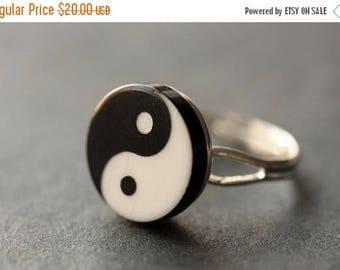 SUMMER SALE Yin Yang Ring. Balance Ring. Yang Yin Ring. Black and White Ring. Taoist Ring. Silver Ring. Button Ring. Adjustable Ring. Handma