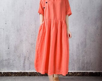 Women long jacinth linen Loose summer dress