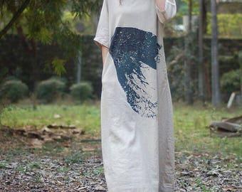 Linen Color Oversize dress Plus size Loose Fitting long dress