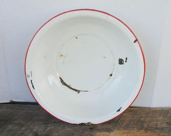 Vintage White with Red Trim Enamelware Bowl