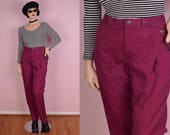 80s Dark Magenta High Waisted Jeans/ 30 Waist/ 1980s/ Pants/ Denim/ Mom Jeans