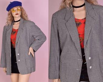 80s Black and White Gingham Blazer/ US 16/ 1980s/ Jacket