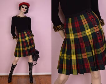 80s Plaid Button Down Pleated Wool Skirt/ 25 Waist/ 1980s
