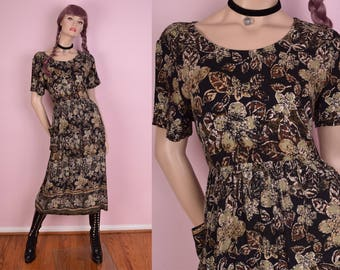 90s Floral Print Flowy Dress/ Medium/ 1990s/ Short Sleeve
