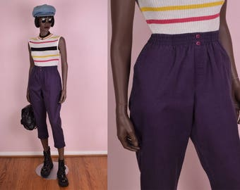 90s Purple High Waisted Pants/ 26-36 Waist/ 1990s