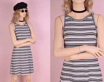 90s Striped Ribbed Dress/ Medium/ 1990s/ Grey/ White/ Tank