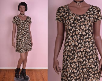 90s Floral Print Mini Dress/ Small/ 1990s/ Short Sleeve