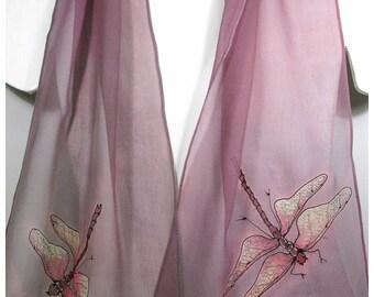 """SALE~Dragonfly Silk Scarf. Painted Silk Scarf. 10""""x58"""". Hand Painted Silk Scarf. Silk Painted Scarves. Silk scarf handpaint. Dragonfly scarf"""