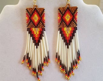 Native American Style Beaded Diamond Rug Earrings Brown, Red, Orange Yellow Gold with Porcupine Quills Southwestern, Geometric, Brick Stitch