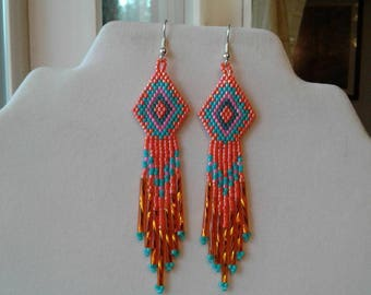 Native American Style Beaded Orange Turquoise, Pink Earrings Southwestern, Boho, Brick Stitch, Geometric, Belly Dancer Peyote Ready to Ship