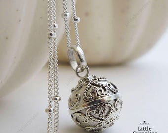 Cute 12mm Lace Hearts Harmony Ball Sterling Silver Pendant Chain Necklace LS88