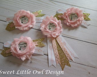Mom To Be Pin/ Corsage  For BABY SHOWER PIN  Light Pink With Gold