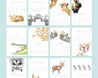 2018 Calendar - Animal Calendar - Desk Calendar - 5x7 - 8x10 - Nursery Arts - Gift for Kid, Coworkers - New Year Gift