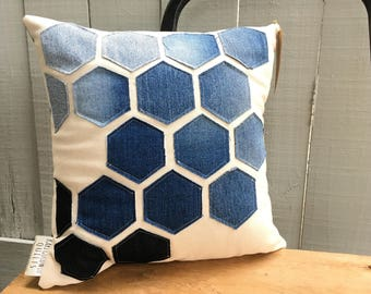 "Honeycomb Pillow, Decorative Pillow, Cabin Decor 14""x14"", Honey BeeThrow Pillow, Upcycled Denim Pillow, Ready to Ship"