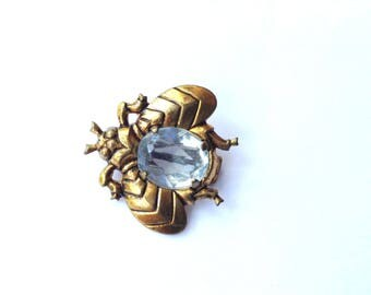 Blue Rhinestone Jelly Belly Bug Scatter Pin Brooch Vintage Fun Fashion Jewelry