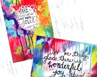 Inspirational Art Postcards/ Pack of 2/ Mini Prints/ Snail Mail Art/ Gift for Any Occasion