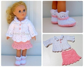 Crochet Pattern 3 PC Set for 18 in Doll Crochet Patterns Pink and White Jacket, Skirt Boots for 18 inch American Doll Outfit Gift for Girl