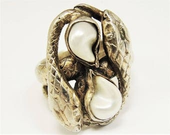 SALE Antique Snake Ring Gilt Sterling Silver River Pearls, Art Nouveau Ring, Edwardian Ring, Arts and Crafts Ring