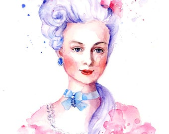 Watercolor Portrait  - Marie Antoinette - Rococo Romantic