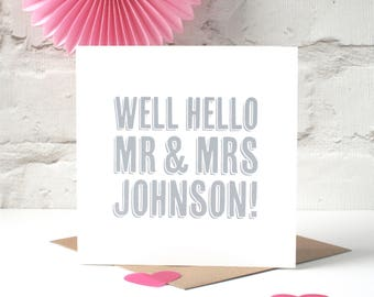 Well Hello! Personalised Wedding Card