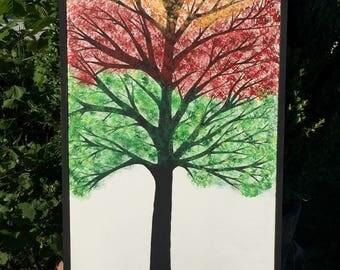 Seasons of life tree painting, tree wall art, framed art, tree painting, home decor, tree of life painting, four seasons tree painting
