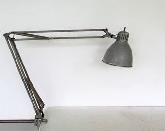 Luxo Lamp Articulating Clamp Light Sweden L-1 Large Vintage Industrial Architect Steel Grey