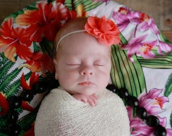 Cream/Ivory swaddle wrap AND / OR matching coral flower headband for newborn photo shoots, bebe, newborn photo, Lil Miss Sweet Pea, 31