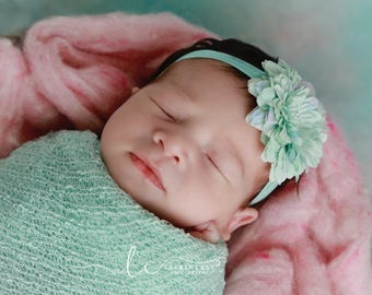 Mint flower headband AND/OR Stretch Knit Wrap -  for newborn photos,  foto bebe, photo,  by Lil Miss Sweet Pea