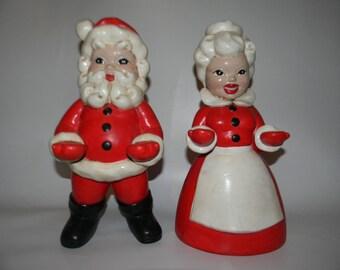 "Vintage 11"" Hand Painted Ceramic Mr. and Mrs. Santa Claus Figurine Pair"