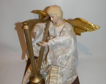 Vintage Animated Musical Angel Playing the Harp Figure Display