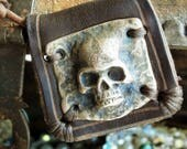 Pirates Wife Jewellery - Brown Leather & Bronze Skull Necklace