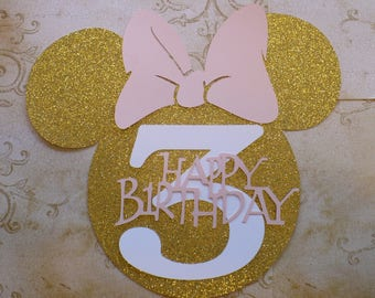 1 XL Minnie Mouse Head Shape 3 yr Die Cut for crafts DIY Gold Glitter Happy Birthday Party Banners Wall Door Decorations