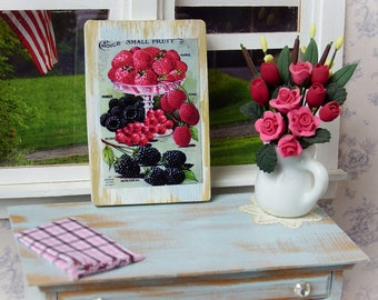 """Miniature Wooden sign 1:12 scale, """"Fresh Berries"""" Vintage style"""