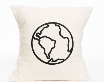 Globe | Earth | World | Travel | Map | Not All Who Wander Are Lost | Pillow Cover | Decorative Pillow | Accent Pillow | Home Decor