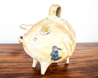 Vintage Ceramic Pig Piggy Bank Money Box, Unique Colorful Animal Kitty Nursery Decor Ideas, One of a Kind New Baby Gift Flower Safe